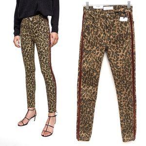 Zara Leopard Velvet Trim Stretch Skinny Jeans NEW